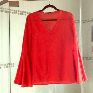 Beautiful coral colored BR bell sleeved blouse